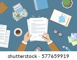 businessman signing a document. ... | Shutterstock .eps vector #577659919