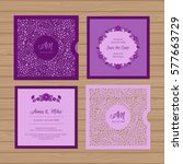 wedding invitation or greeting... | Shutterstock .eps vector #577663729