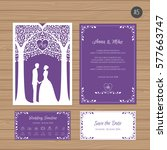 wedding invitation with bride... | Shutterstock .eps vector #577663747