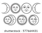 boho flash tattoo design hand... | Shutterstock .eps vector #577664431