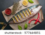 tuna  fish  with slices of... | Shutterstock . vector #577664851