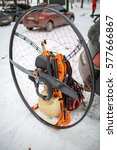 paramotor engine on the snow. | Shutterstock . vector #577666867
