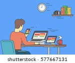 man is working on adaptive... | Shutterstock .eps vector #577667131