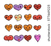 set of cute lovely emoticons.... | Shutterstock .eps vector #577669225