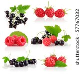set fresh berry fruits with... | Shutterstock . vector #57767032