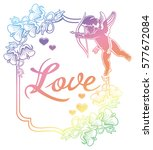 cupid with bow hunting for...   Shutterstock . vector #577672084