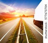highway throurg the summer... | Shutterstock . vector #577673704