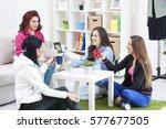 friends having fun in the... | Shutterstock . vector #577677505