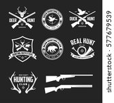 set of hunting related labels... | Shutterstock .eps vector #577679539