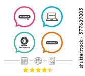 webinar icons. web camera and... | Shutterstock .eps vector #577689805