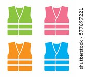high visibility vest icon set | Shutterstock .eps vector #577697221