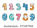 hand drawn set of black numbers ... | Shutterstock .eps vector #577697905