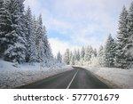 clean winter road on mountain...   Shutterstock . vector #577701679