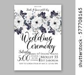 anemone wedding invitation card ... | Shutterstock .eps vector #577708165