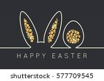 easter bunny line. golden egg... | Shutterstock .eps vector #577709545