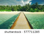 Wooden Pier At Tropical Island...