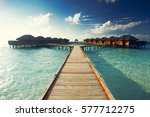 water bungalows resort at... | Shutterstock . vector #577712275