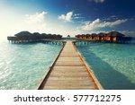 water bungalows resort at... | Shutterstock . vector #577712275