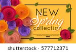Stock vector spring banner with paper flowers for online shopping advertising actions magazines and websites 577712371