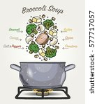 vector broccoli soup... | Shutterstock .eps vector #577717057