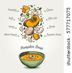 vector pumpkin soup ingredients | Shutterstock .eps vector #577717075