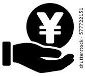 yen coin payment hand vector...   Shutterstock .eps vector #577722151