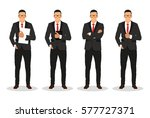 businessman in various poses ... | Shutterstock .eps vector #577727371