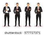 businessman in various poses ... | Shutterstock .eps vector #577727371