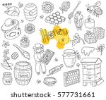 vector honey element doodle set ... | Shutterstock .eps vector #577731661