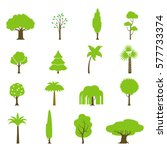flat green trees vector... | Shutterstock .eps vector #577733374