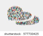 flat isometric crowd of people... | Shutterstock .eps vector #577733425