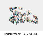 flat isometric crowd of people... | Shutterstock .eps vector #577733437
