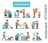 linear flat young volunteers... | Shutterstock .eps vector #577733479