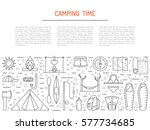 vector linear icons on the... | Shutterstock .eps vector #577734685