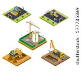 flat isometric male workers... | Shutterstock .eps vector #577735369