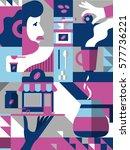coffee theme illustration.... | Shutterstock .eps vector #577736221