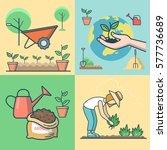 linear flat female farmer... | Shutterstock .eps vector #577736689