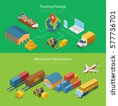 flat isometric tracking package ... | Shutterstock .eps vector #577736701