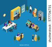 flat isometric bank office with ... | Shutterstock .eps vector #577736731