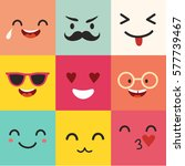 happy emoticons vector pattern. ... | Shutterstock .eps vector #577739467