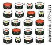 sushi emoji vector set. emoji... | Shutterstock .eps vector #577741831