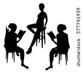 three woman sitting on a chair... | Shutterstock .eps vector #577741939