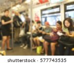 people sitting on mass transit  ... | Shutterstock . vector #577743535