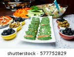 green sushi on the table in a... | Shutterstock . vector #577752829