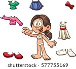 girl with different clothes.... | Shutterstock .eps vector #577755169