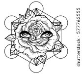 blackwork tattoo flash. rose...   Shutterstock .eps vector #577762555