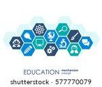 education network. hexagon... | Shutterstock .eps vector #577770079