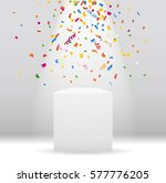 white podium with spotlight and ... | Shutterstock .eps vector #577776205