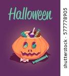 happy halloween greeting card.... | Shutterstock . vector #577778905