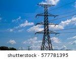 high voltage pole   Shutterstock . vector #577781395